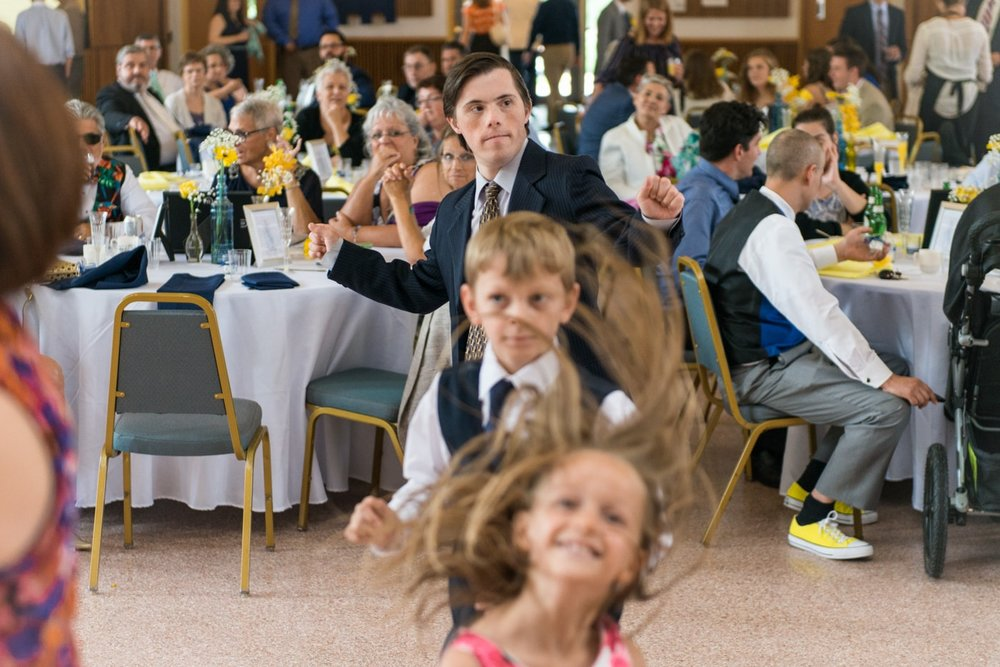 Kids dancing at a wedding reception at St Mark Catholic Church in Vienna, Virginia