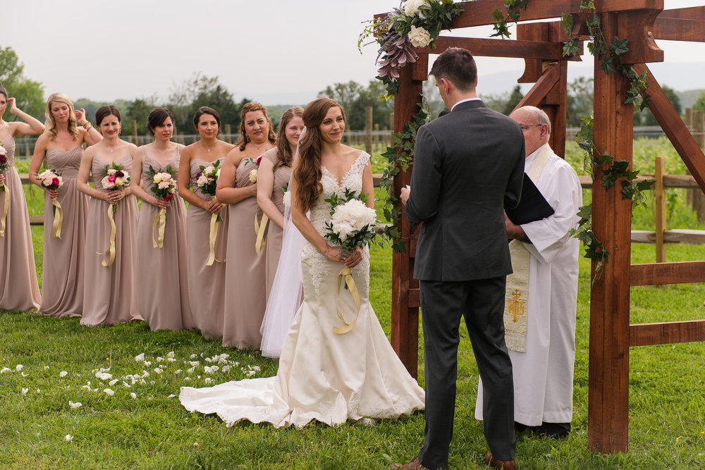 The bride looks at her groom with her bridesmaids fanned out behind her during a wedding ceremony at Faithbrooke Barn and Vineyards in Luray, Virginia