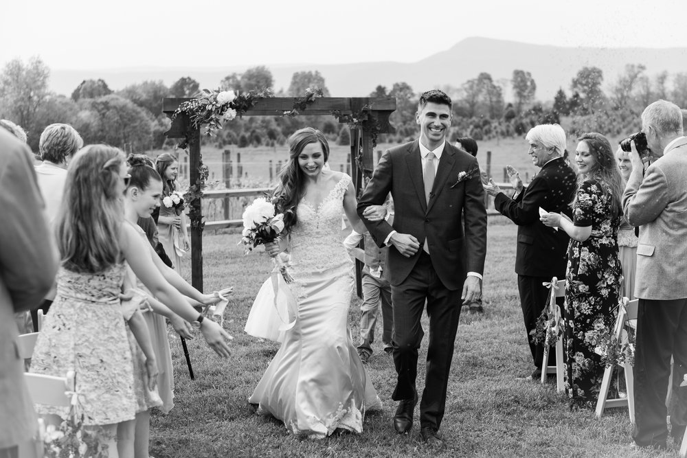 The bride and groom celebrate the end of their wedding ceremony with smiles at Faithbrooke Barn and Vineyards in Luray, Virginia