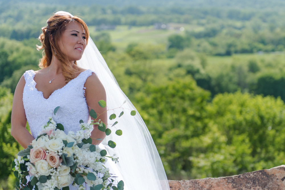 An Asian bride looks to the distance holding a huge bouquet of pastel flowers as her cathedral veil flows behind her at Blue Valley Vineyard and Winery in Delaplane, Virginia
