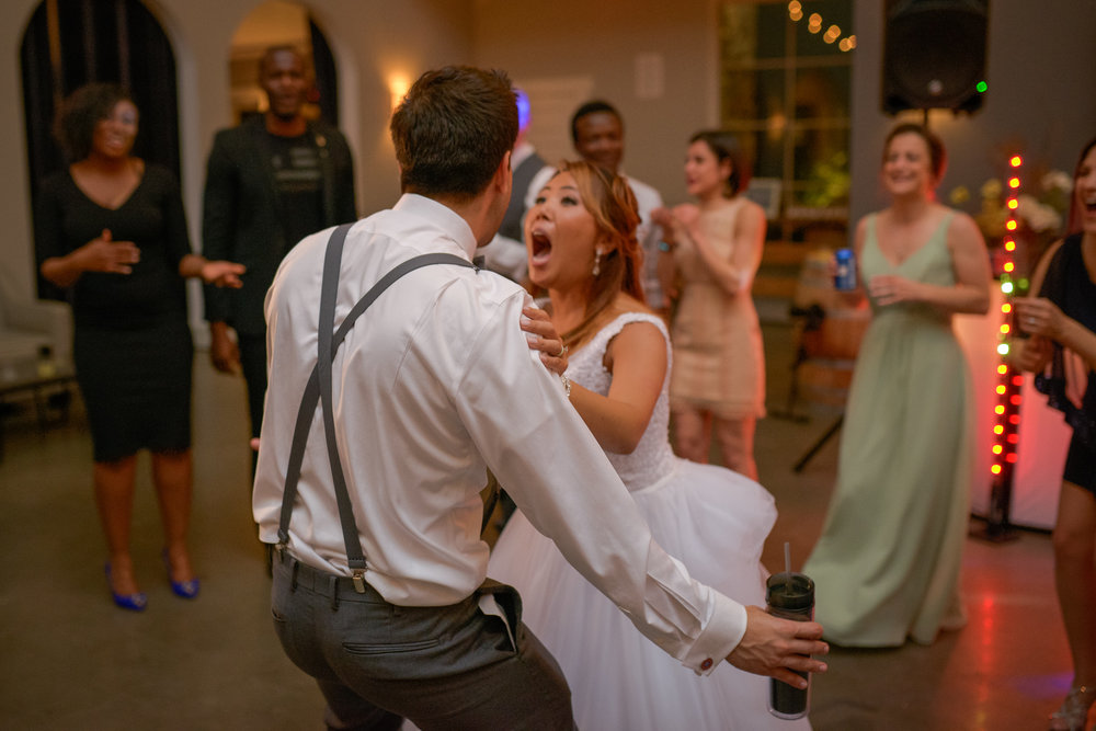 A bride and groom dance and have fun together at a reception at Blue Valley Vineyard and Winery in Delaplane, Virginia