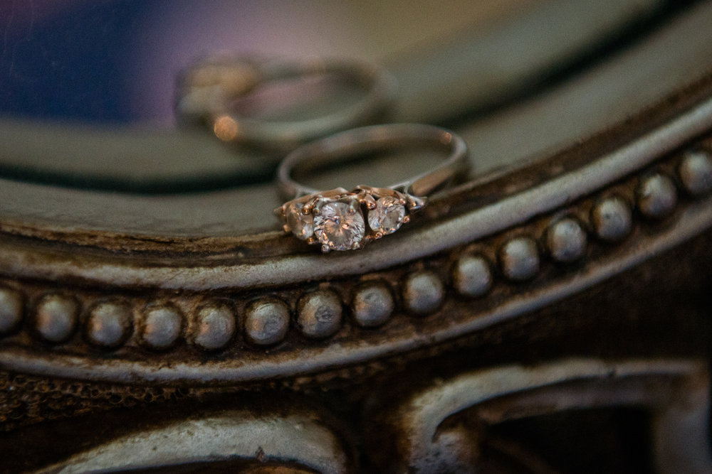 An heirloom ring as a bridal detail in a room before a wedding at Oatlands Historic House and Gardens in Leesburg, Virginia