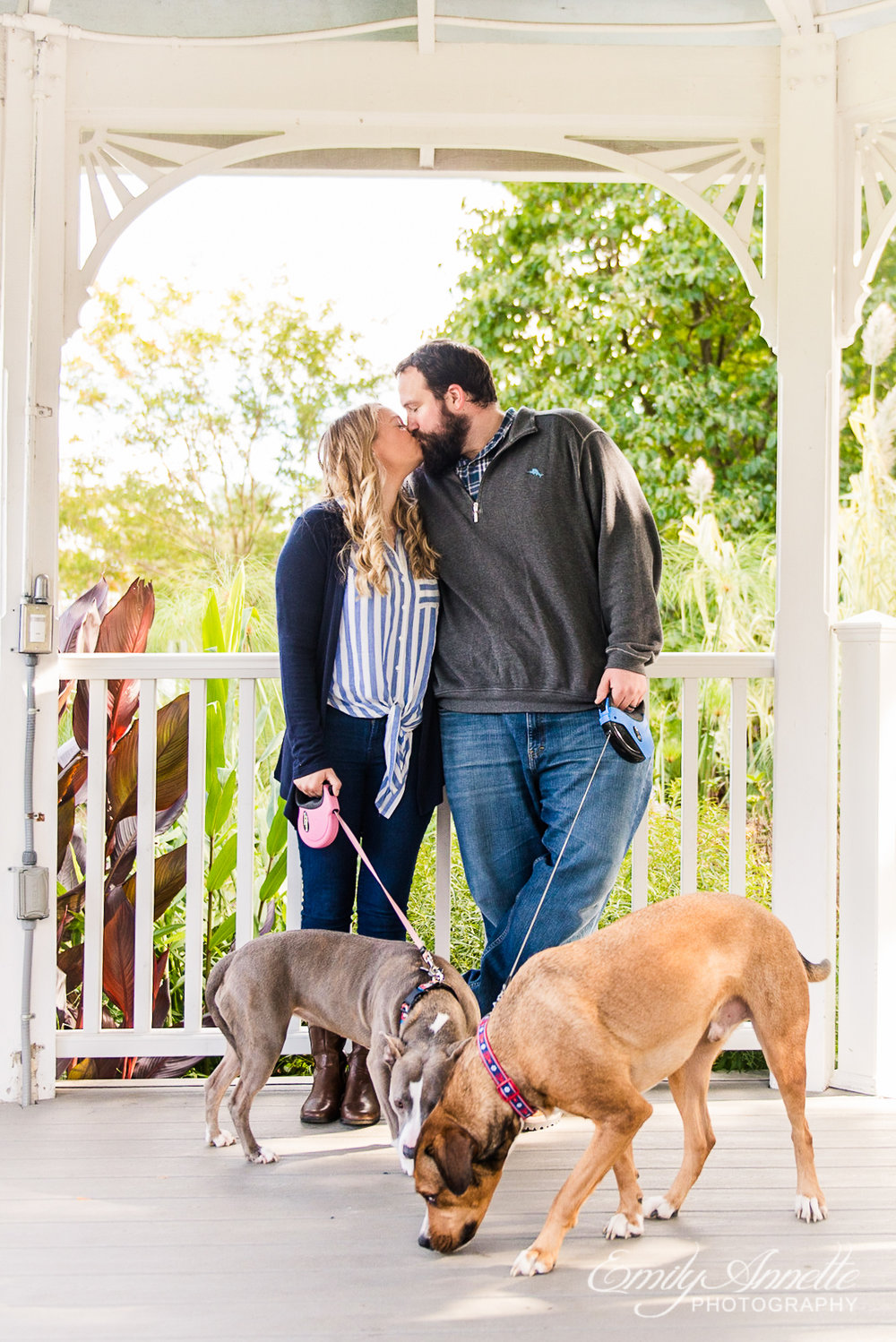 A couple kissing while holding their two dogs under the gazebo at Green Spring Gardens Park in Fairfax, Virginia