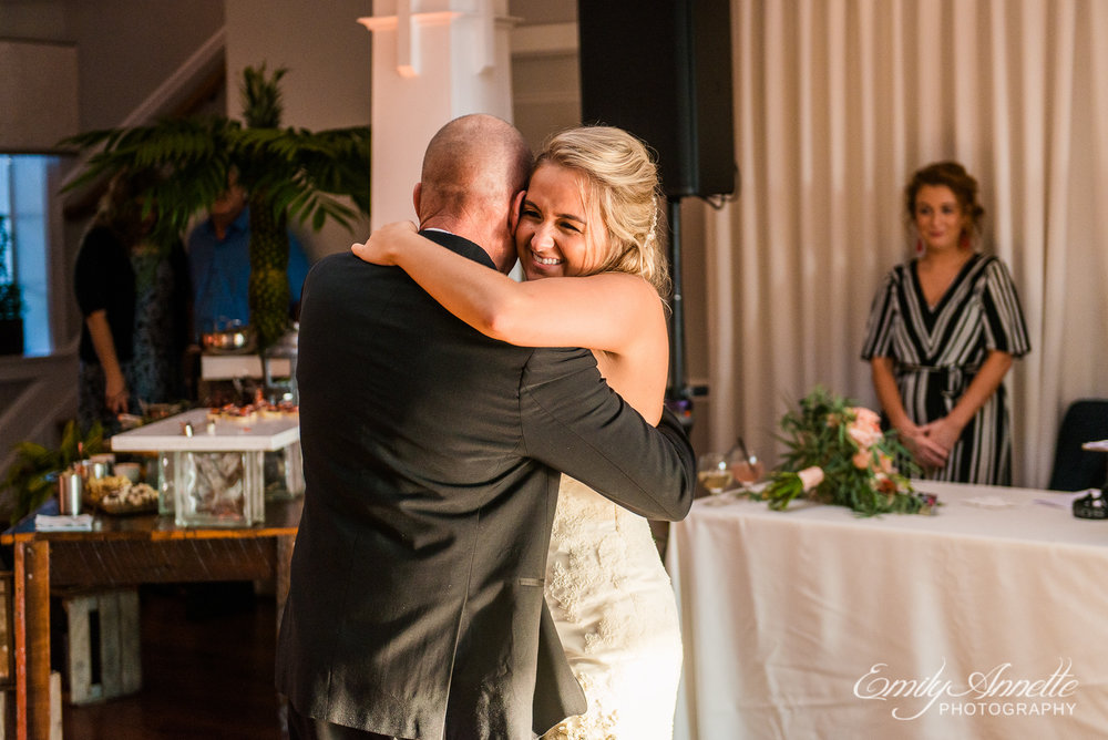 The bride and her father dance during a wedding reception at Herrington on the Bay in North Beach, Maryland