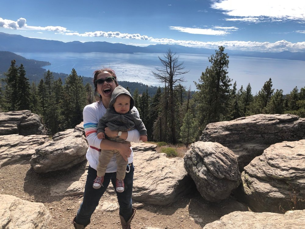 My son and I taking in Lake Tahoe