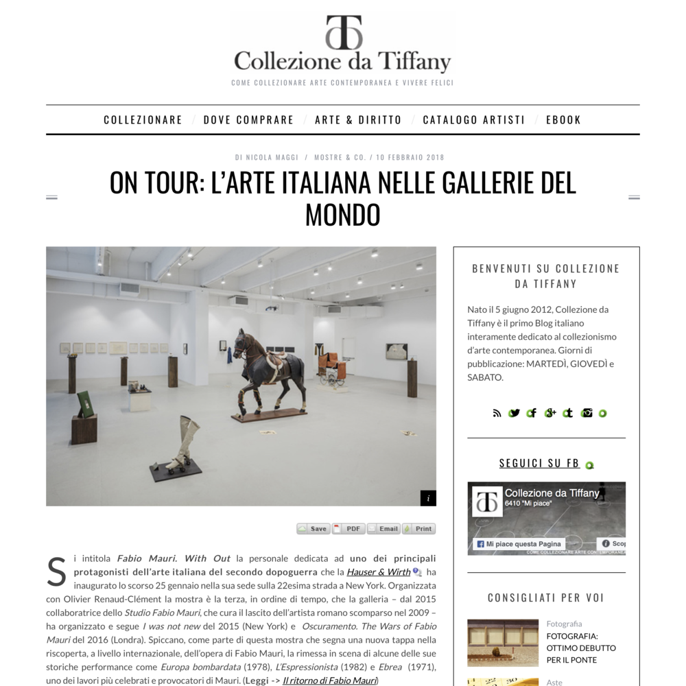 COLLEZIONE DA TIFFANY  Hauser & Wirth  Fabio Mauri: With Out