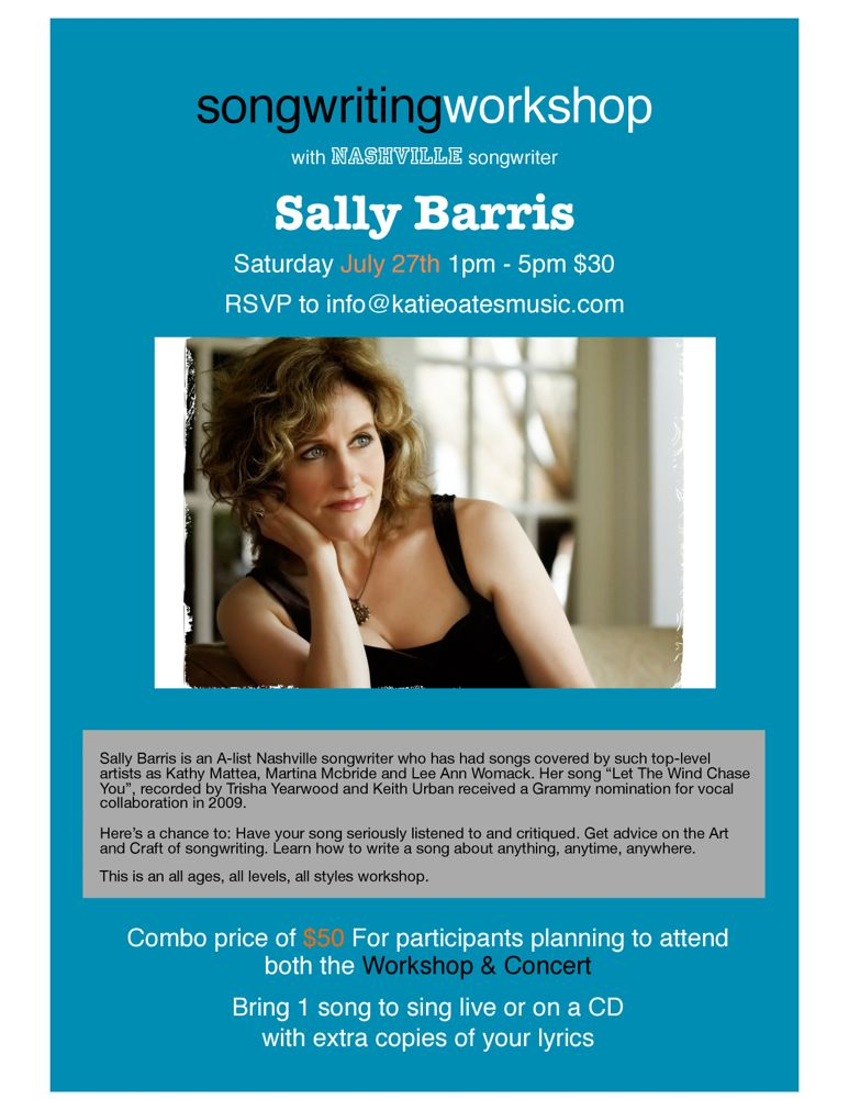 Sally Barris Songwriting Workshop flyer