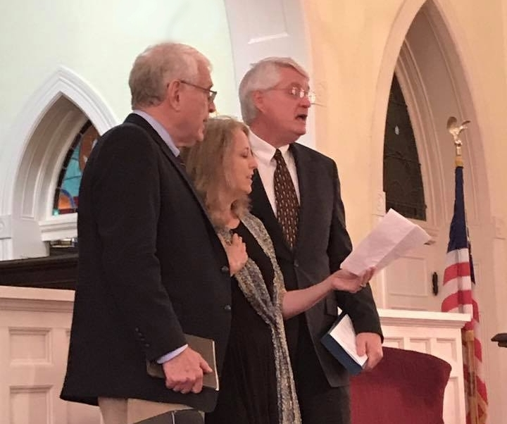 "Singing ""I'll Fly Away"" with my Dad (Jack, on left) and Uncle Rob at Nana's service."