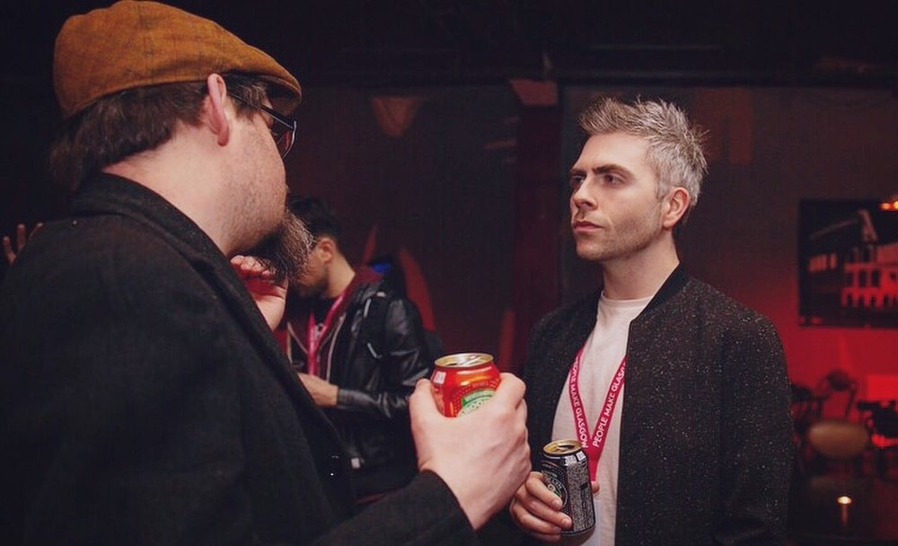 From left:  Hans Lucas  (Blueprint) and  Bryan M. Ferguson  at the Glasgow Short Film Festival.