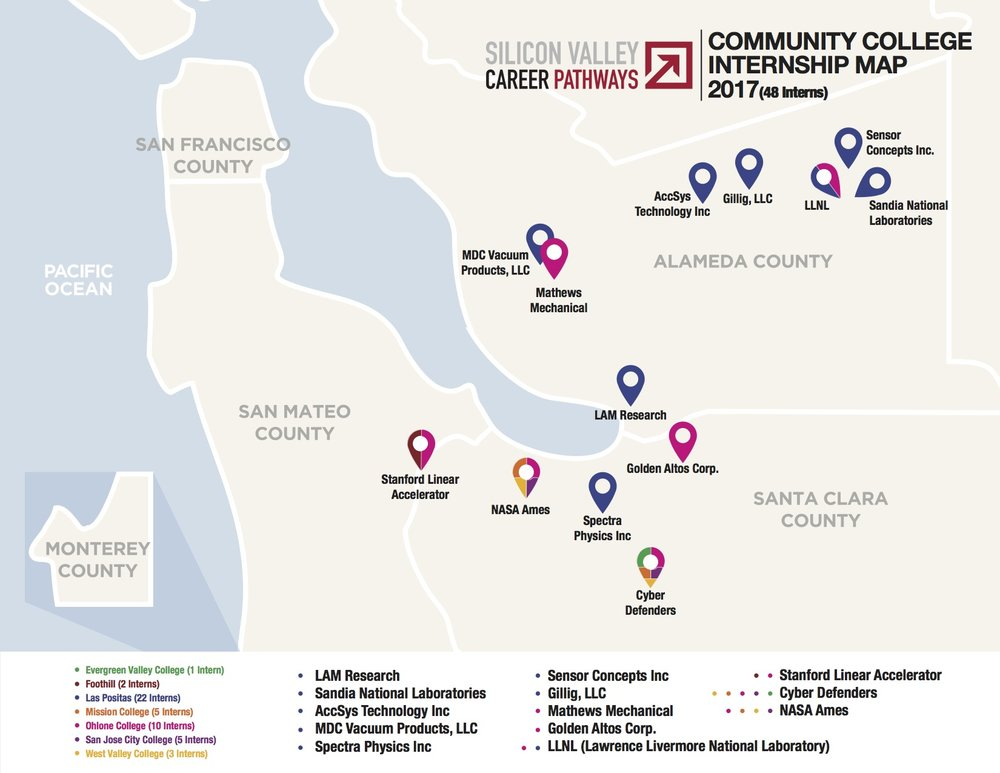 SVCP 2017 Community College Internship Map