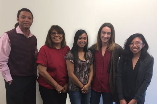 Pictured from left: Andre Simmons (West Valley College), Marina Gonzalez (Ohlone), Tam Nguyen (San Jose City College), Kelsey Wat (Las Positas College), Donna Miranda (Foothill College).