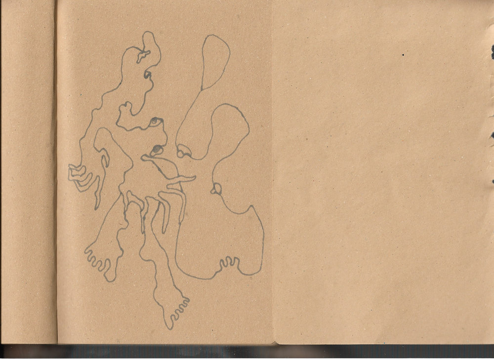 """Autoanastomosis 4. Marker on Paper. 8.25"""" by 5.5."""""""