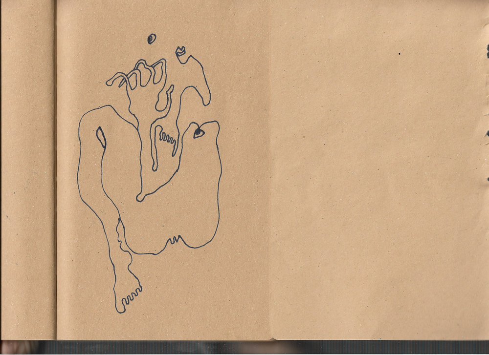 """Autoanastomosis 2. Marker on Paper. 8.25"""" by 5.5."""""""