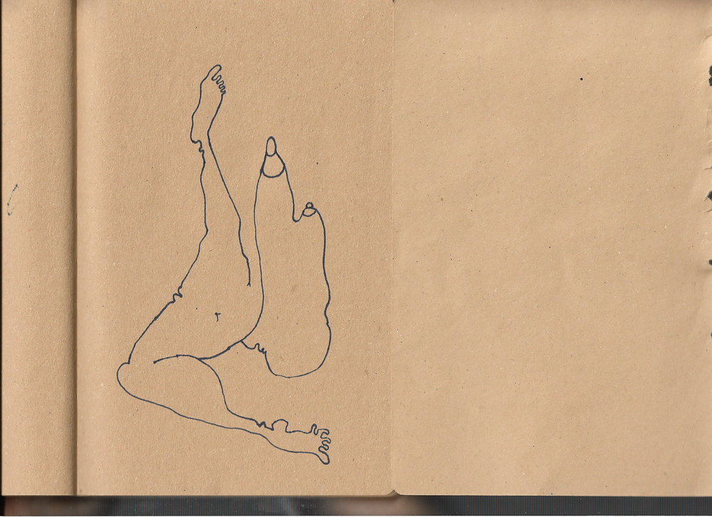 """Autoanastomosis 3. Marker on Paper. 8.25"""" by 5.5."""""""