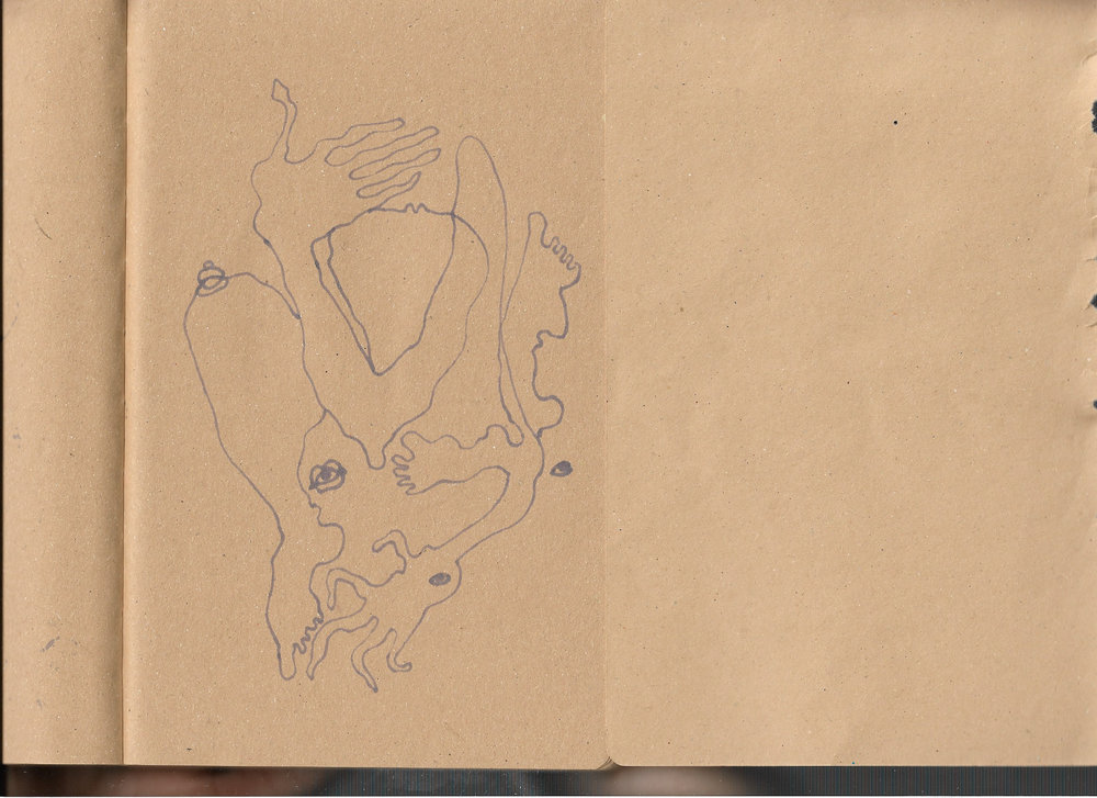 """Autoanastomosis 9. Marker on Paper. 8.25"""" by 5.5."""""""