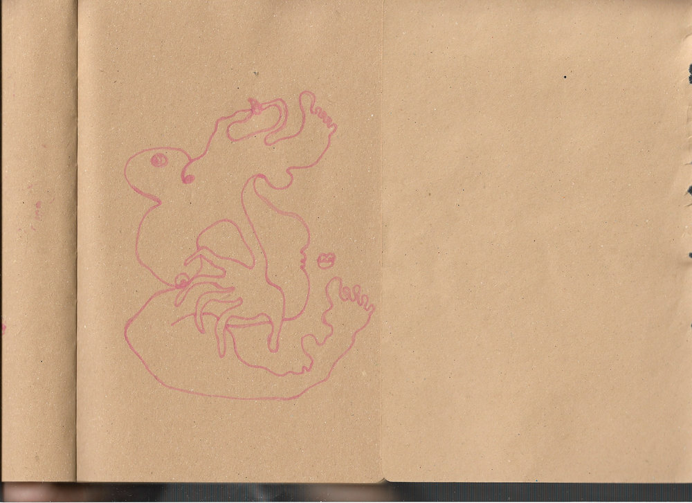 """Autoanastomosis 29. Marker on Paper. 8.25"""" by 5.5."""""""