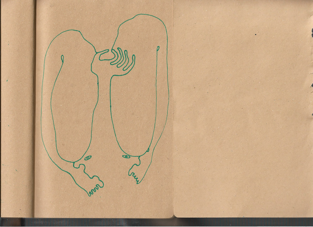 """Autoanastomosis 51. Marker on Paper. 8.25"""" by 5.5."""""""
