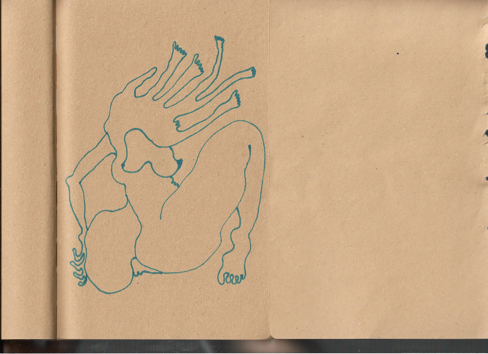 """Autoanastomosis 52. Marker on Paper. 8.25"""" by 5.5."""""""
