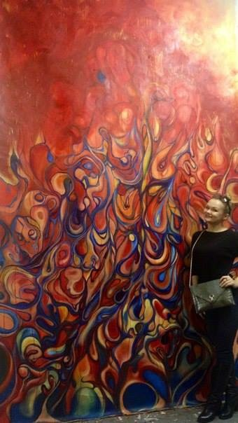 """Annunciation,"" Oil on Canvas, 12 by 6 feet."