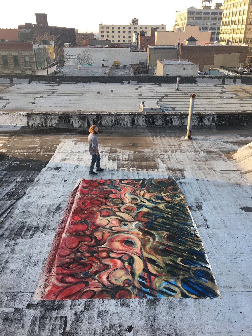 """""""Joyride,"""" Oil on Canvas, 14 by 20 feet."""
