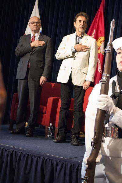 Joe Mantegna and Andy Puzder (Carl's Jr CEO) honor US Military Veterans at the Ronald Reagan Presidential Library. Photo by Jillian Dale