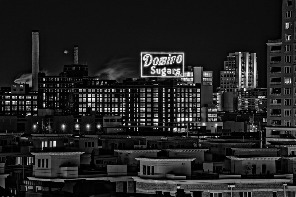 """Domino Sugar Factory,"" 8x12 mounted metallic print."