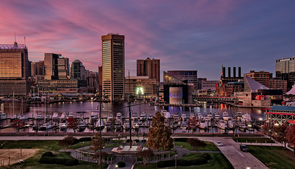 """Baltimore Inner Harbor,"" 12x18 canvas gallery wrap, 10x20 metallic mounted print."