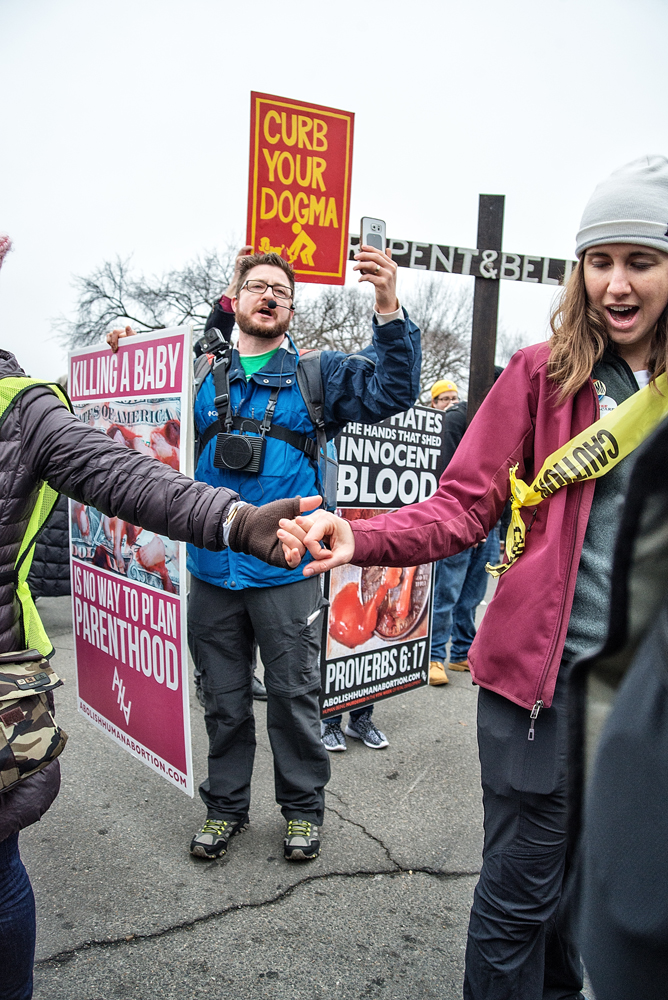 A pro-life demonstration on Constitution Avenue did not go over well with some of the Women's Marchers, though one can't deny their right to be there with the rest of the demonstrators.