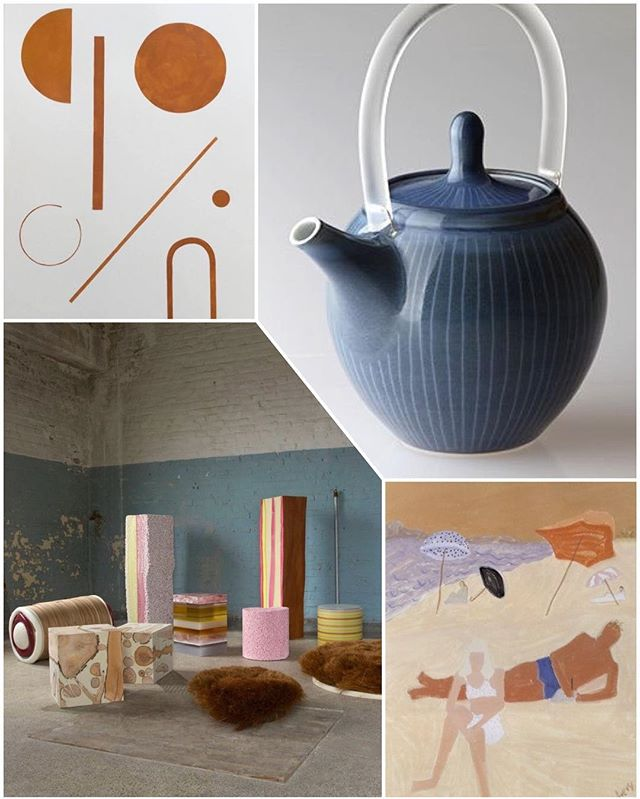 a lil bit #softer now #rust #shapes #terracotta #arch #bobbyclark #lucite #julieayton #teapot #miltonavery #beach #loungers #1944 #matthiasborowski #candy #pastels #collage #weeknightcollage 🥐🌊🍡