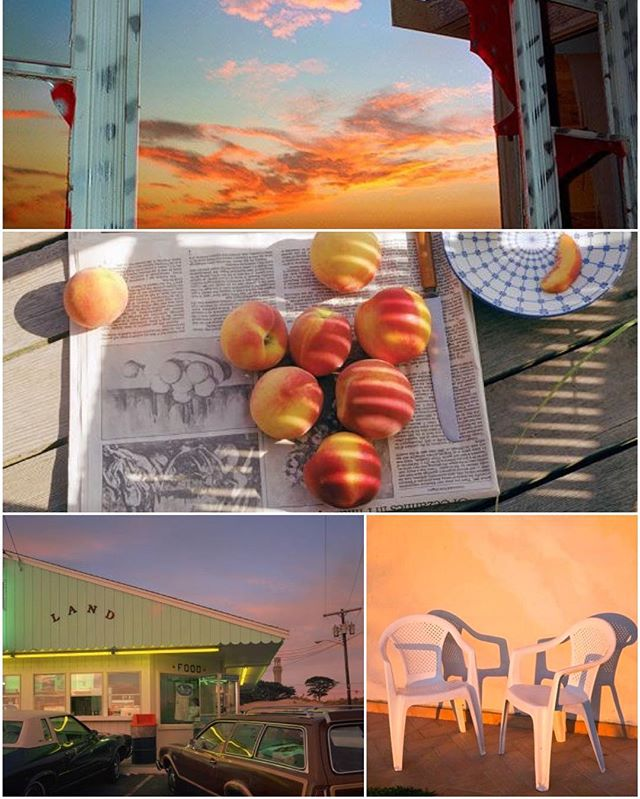 ode to #summer #sunsets #stonefruit #goldenhour #softserve & #peaches especially #joelmeyerowitz #johndivola #skies #patiochairs #photography #collage #weeknightcollage 🍑🍦💥