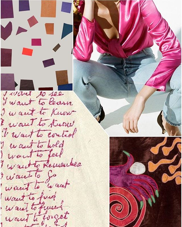 #barbiepink #fuschia baby #staud #satin #mokicherry #tapestry #iwant #pink #ink #louisebourgeois #margretheodgaard #pattern #collage #weeknightcollage 👛