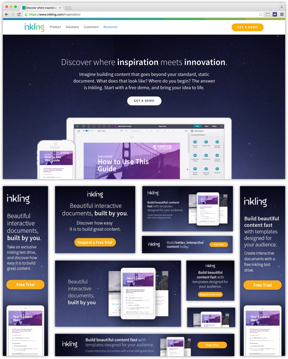 Inkling's Inspiration landing page, and supporting onsite banners.