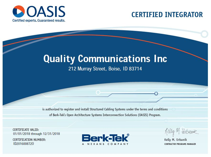 Certifications Quality Comm Inc