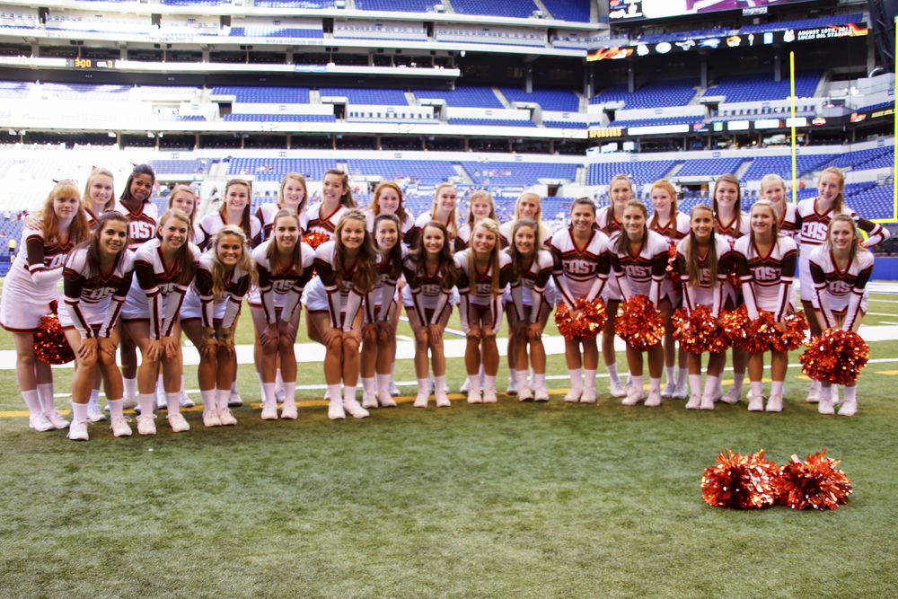 The 2012 Columbus East Olympian Varsity and Junior Varsity Cheerleaders!