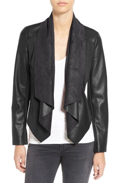 KUT from the Kloth 'Ana' Faux Leather Drape Front Jacket (Regular & Petite) Regular Sale: $65.90 After Sale: $98.50
