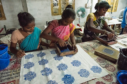 Here are the women printing there own designs for our beautiful cushions.  Swipe to see the end result and visit www.sewingtheseeds.org for more!