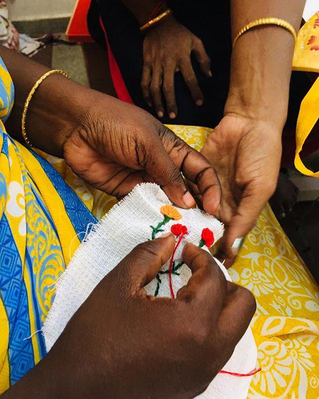 We are learning new skills all the time! Embroidery !! @samugam_jalyhome @fairandsquarebe @samugam_australia @sustainablefashion  @ethicalfashion  @womensupportingwomen