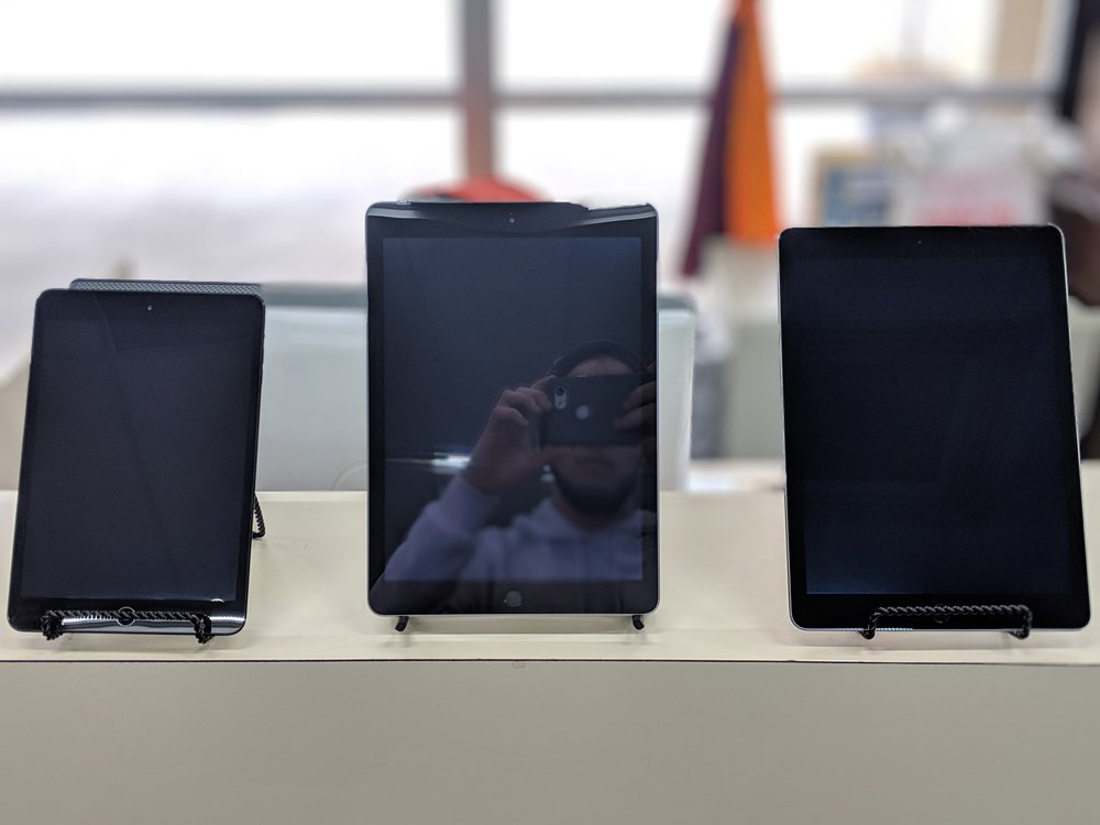 - samsung tablets, ipads, and more!stock changes weekly, call for specifics.