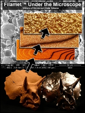 Filamet™Under the Microscope Millions of Microscopic Meta Spheres - When viewing Filamet™ under a microscope, it's very easy to understand why it works. Quite simply, there is so much metal in it that metal is the only thing visible. There is just enough plastic in it to make the metal particles stick together. Filamet™ does not require special hardware, it works in any FDM (the most common) printer on the market today.The graphic is an analysis of Filamet™ at various levels of magnification. The background is an electron microscope at 650x