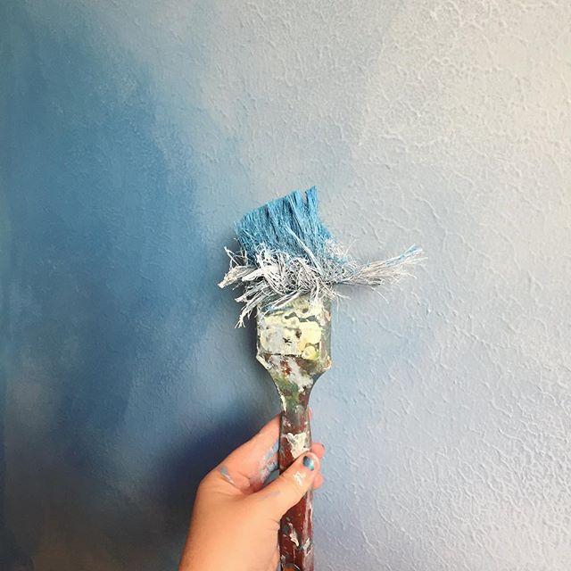 #mural #houstonartist #paintbrush #paint #blue
