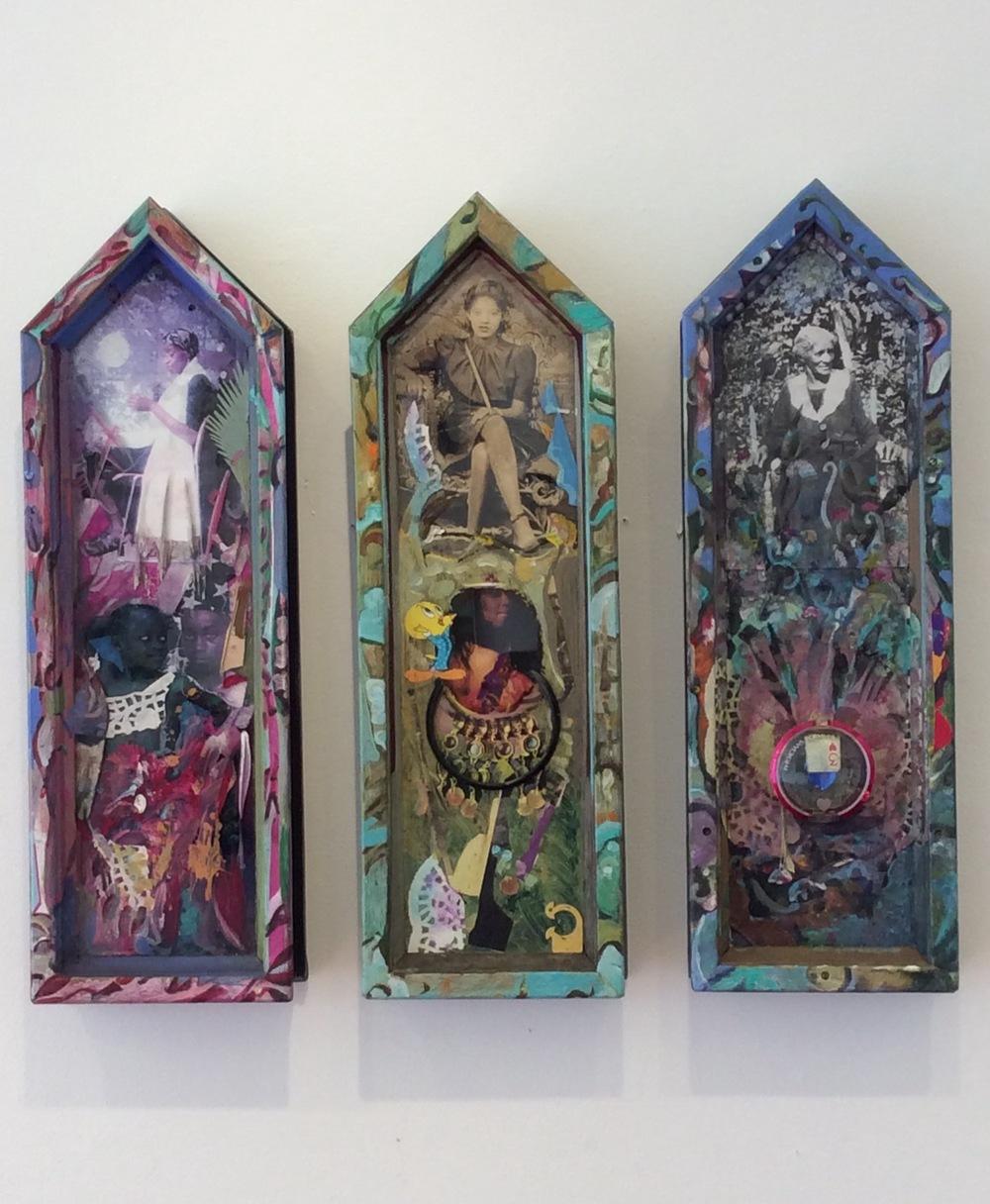 "3Divas,acrylics,found objects on glass,6"" x 18"""