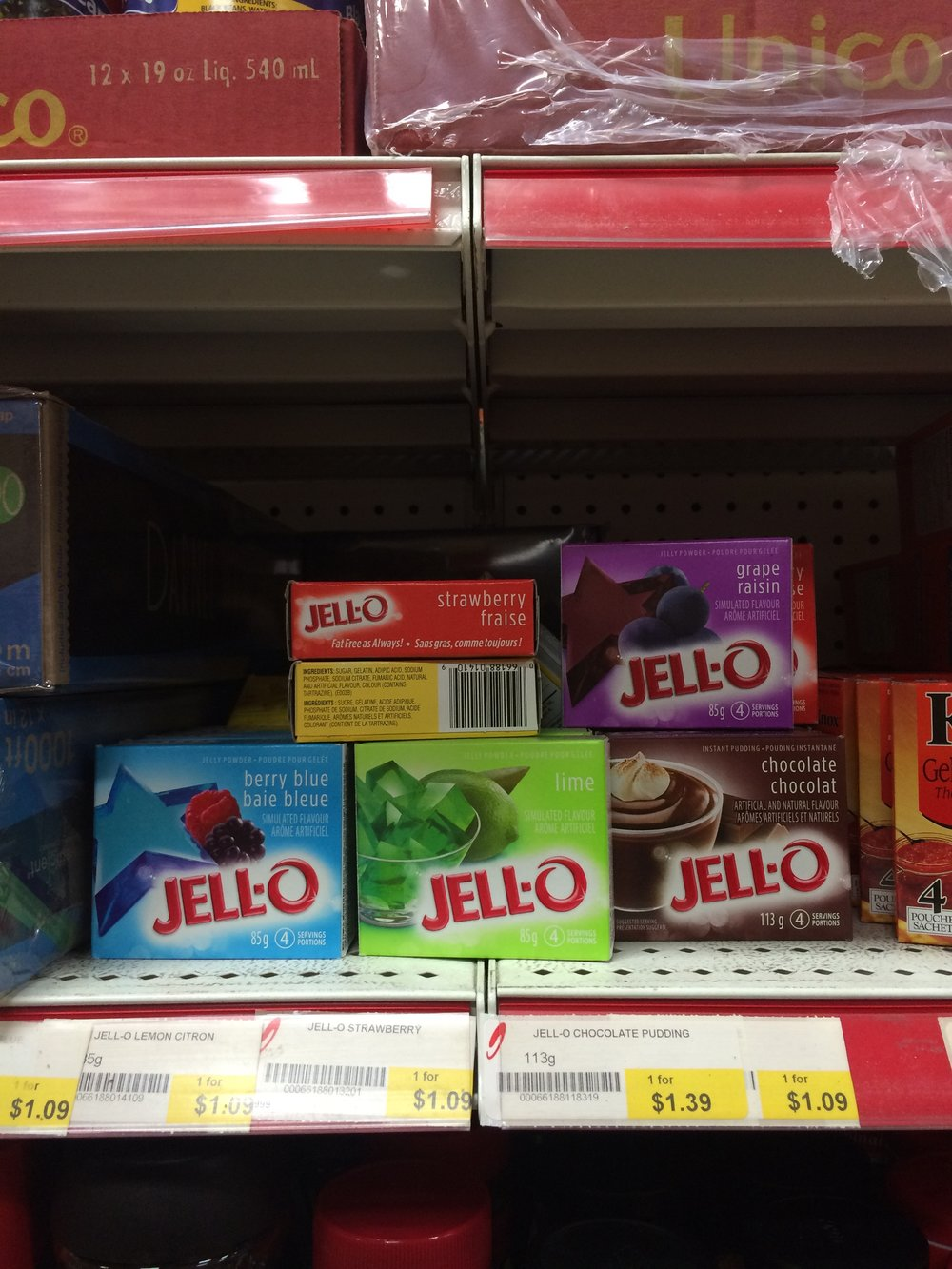 Disappointing gelatin selection at the Korean grocery store tonight