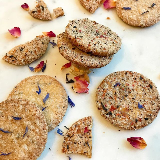 recipe testing some tea-crusted sablé cookies, I'm liking the look!!!