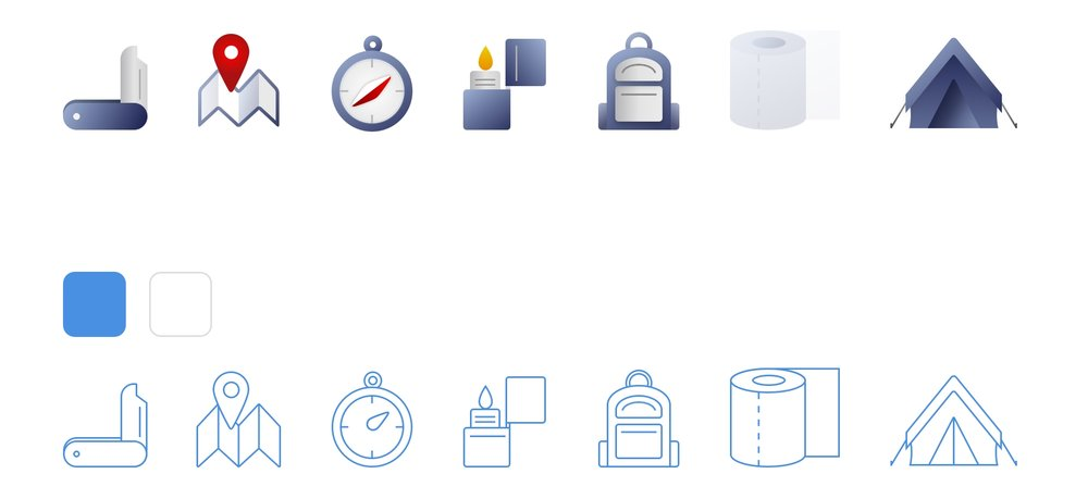 Camping essentials icon set
