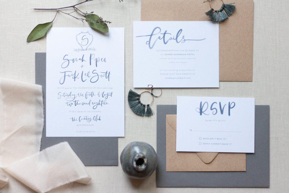 Modern Navy Watercolor Invitations with Crest