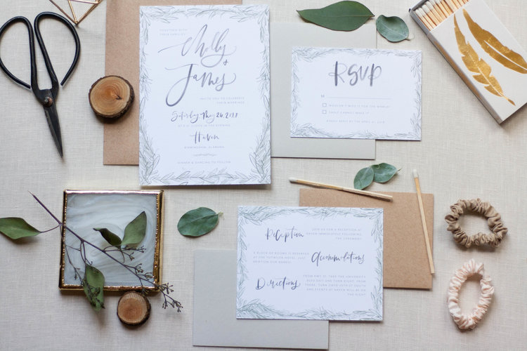 Grey Watercolor Wedding Invitations with Greenery Border