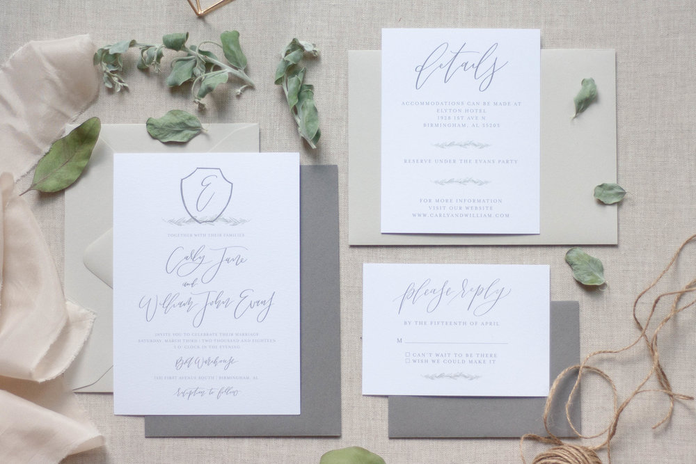 Classic Grey Wedding Invitations with Greenery Accents