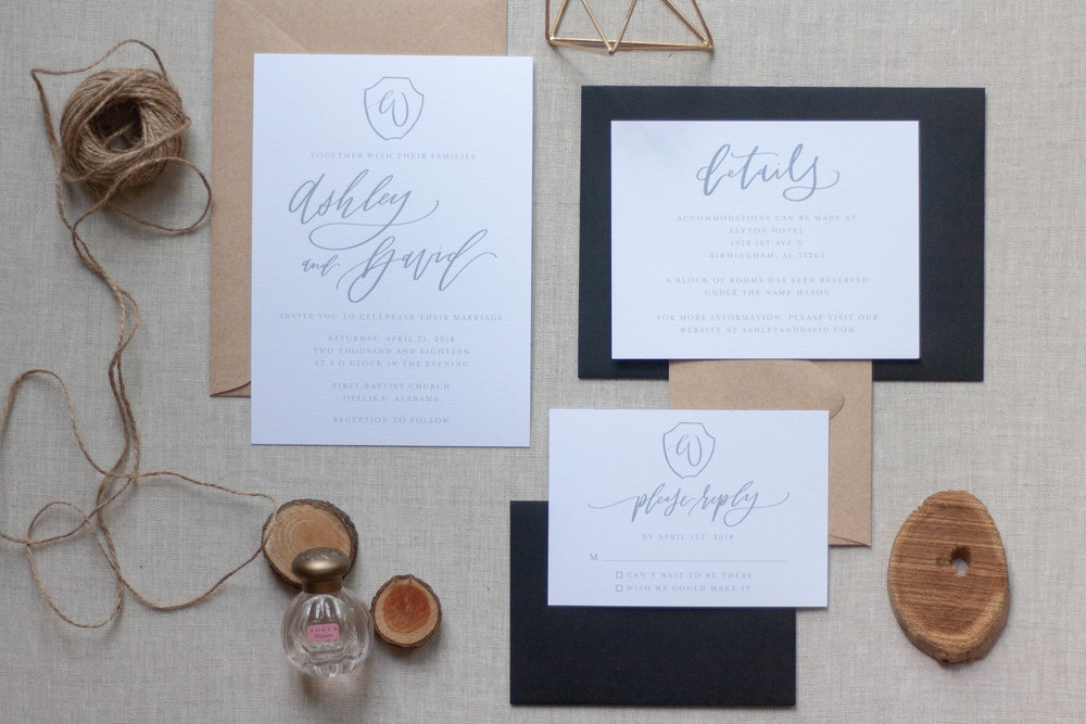 Simple Blue-ish Grey Wedding Invitations with Crest