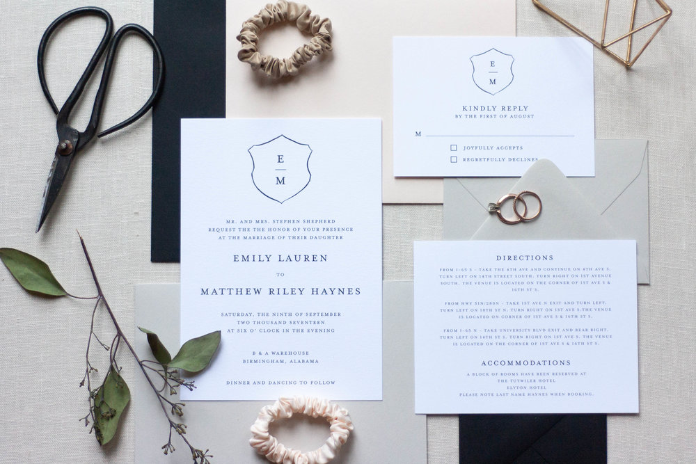 Simple and Timeless Black and White Wedding Invitations