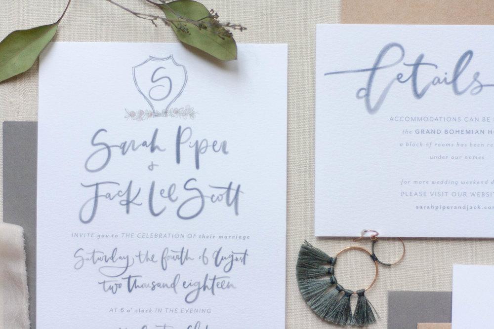 Semi Custom Wedding Invitation Suite - Simple Navy